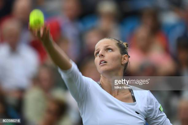 Kristyna Pliskova of Czech Republic in action during her defeat to Angelique Kerber of Germany on Day 4 of the Aegon International Eastbourne...