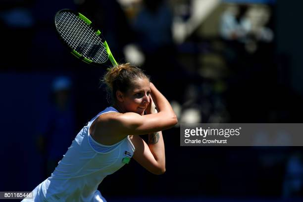 Kristyna Pliskova of Czech Republic in action during her round one match against Naomi Broady of Great Britain during day two of the Aegon...