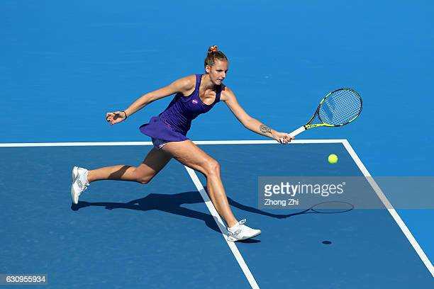 Kristyna Pliskova of Czech Republic returns a shot during the match against KaiChen Chang of Chinese Taipei during Day 4 of 2017 WTA Shenzhen Open at...