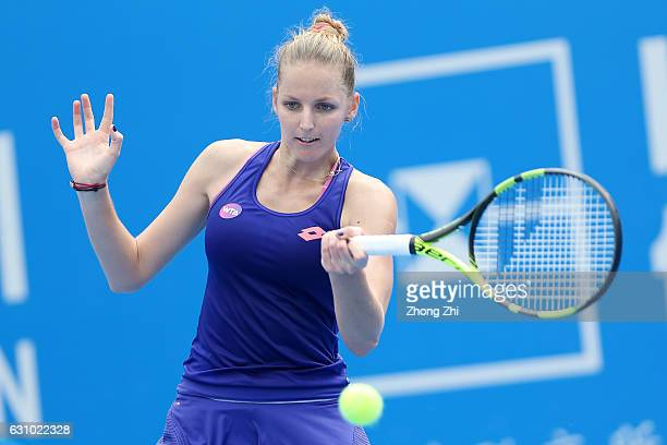 Kristyna Pliskova of Czech Republic returns a shot during the match against Johanna Konta of Great Britain during Day 5 of 2017 WTA Shenzhen Open at...