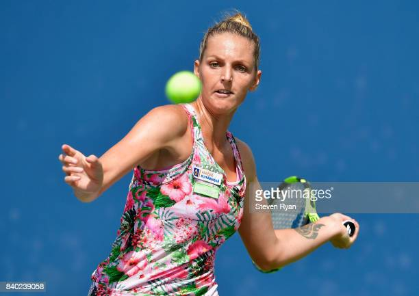 Kristyna Pliskova of Czech Republic returns a shot to Misa Eguchi of Japan on Day One of the 2017 US Open at the USTA Billie Jean King National...