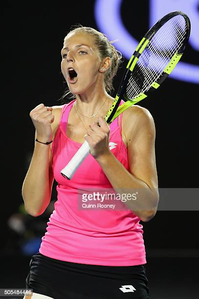 Kristyna Pliskova of the Czech Republic celebrates winning her first round match against Sam Stosur of Australia during day one of the 2016...