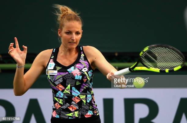 Kristyna Pliskova of the Czech Republic in action against Daria Kasatkina of Russia during their second round match on day five of the BNP Paribas...