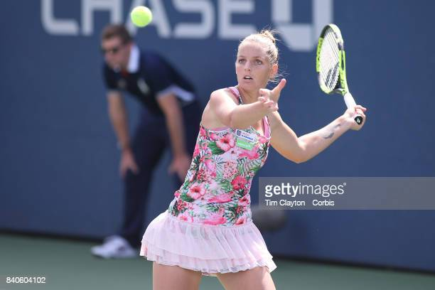 S Open AUGUST 28 Kristyna Pliskova of the Czech Republic in action against Misa Eguchi of Japan on court five during the Women's Singles round one...