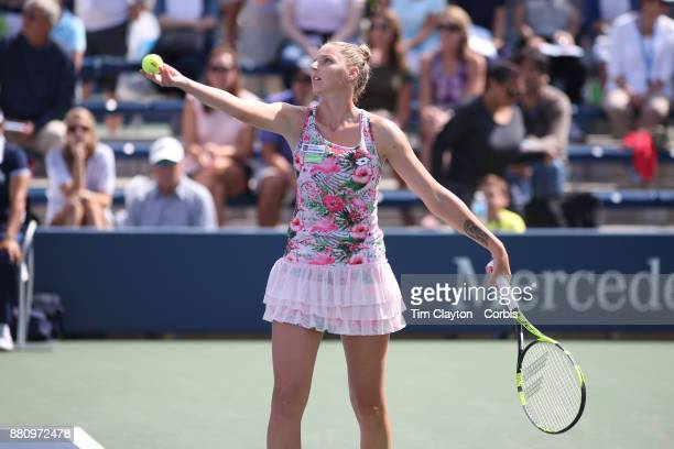 S Open AUGUST 28 DAY ONE Kristyna Pliskova of the Czech Republic in action against Misa Eguchi of Japan on court five during the Women's Singles...
