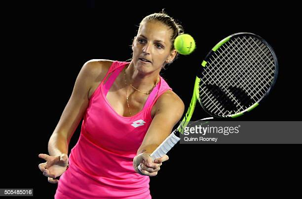 Kristyna Pliskova of the Czech Republic plays a forehand volley in her first round match against Sam Stosur of Australia during day one of the 2016...