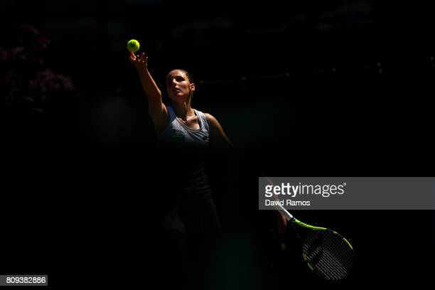 Kristyna Pliskova of the Czech Republic serves during the Ladies Singles second round match against Maria Sakkari of Greece on day three of the...