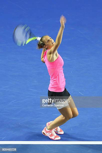 Kristyna Pliskova of the Czech Republic serves in her first round match against Samantha Stosur of Australia during day one of the 2016 Australian...