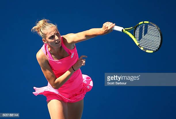 Kristyna Pliskova of the Czech Republic serves in her match against Sachia Vickery of the United States during the third round of 2016 Australian...