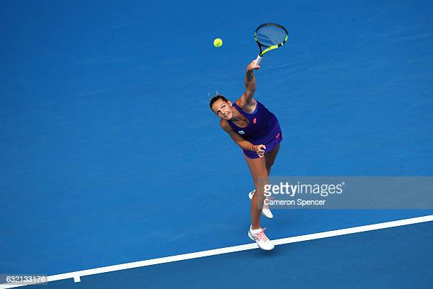 Kristyna Pliskova of the Czech Republic serves in her third round match against Angelique Kerber of Germany on day five of the 2017 Australian Open...