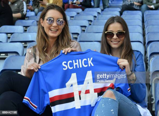 Kristyna Schick sister of player Patrik Schick of Sampdoria in the stands during the Serie A match between UC Sampdoria and ACF Fiorentina at Stadio...