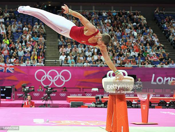 Krisztian Berki of Hungary competes on the horse during the Artistic Gymnastics Men's Pommel Horse Final on Day 9 of the London 2012 Olympic Games at...