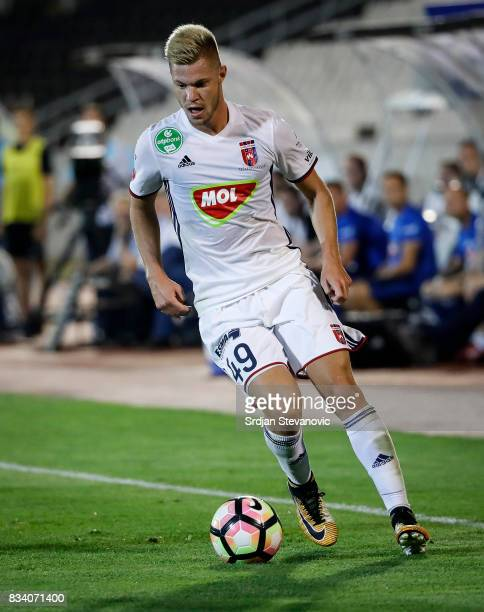 Krisztian Geresi of Videoton in action during the UEFA Europa League Qualifying PlayOffs round first leg match between Partizan and Videoton FC at...