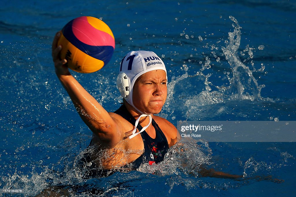 Krisztina Garda of Hungary in action during the Women's Water Polo first preliminary round match between Hungary and Brazil during Day Two of the 15th FINA World Championships at Piscines Bernat Picornell on July 21, 2013 in Barcelona, Spain.