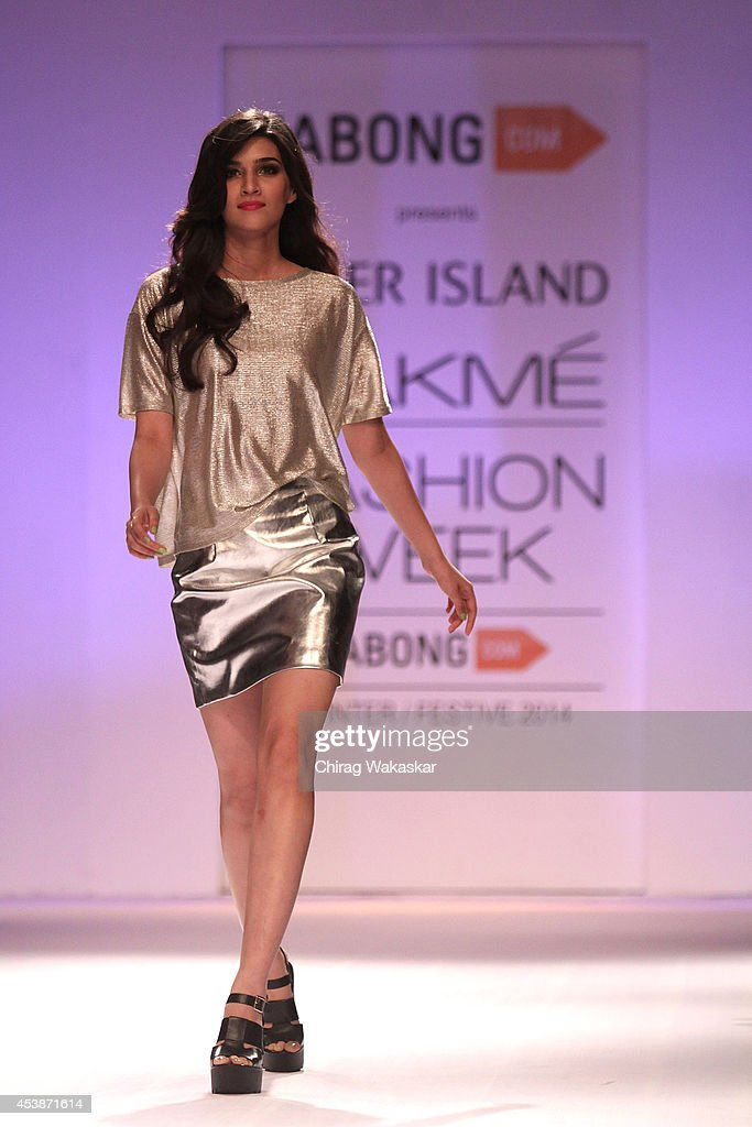 Kriti Sanon showcases designs by Jabong Presents River Island show during day 1 of Lakme Fashion Week Winter/Festive 2014 at The Palladium Hotel on August 20, 2014 in Mumbai, India.