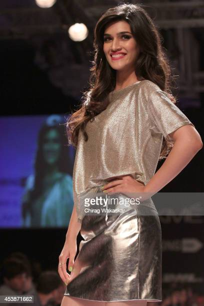 Kriti Sanon showcases designs by Jabong Presents River Island show during day 1 of Lakme Fashion Week Winter/Festive 2014 at The Palladium Hotel on...