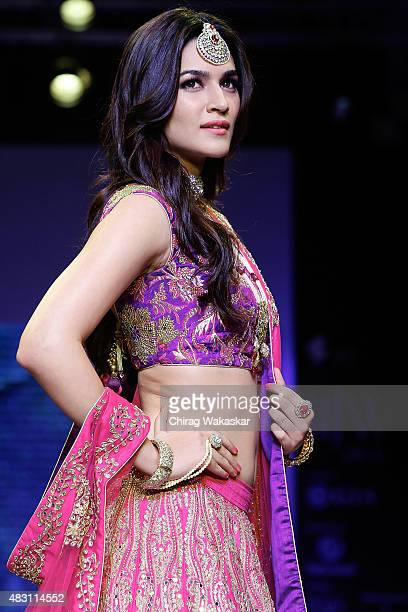 Kriti Sanon walks the runway at the Sunil Jewellers show during Day 4 of the India International Jewellery Week at the Grand Hyatt on August 6 2015...