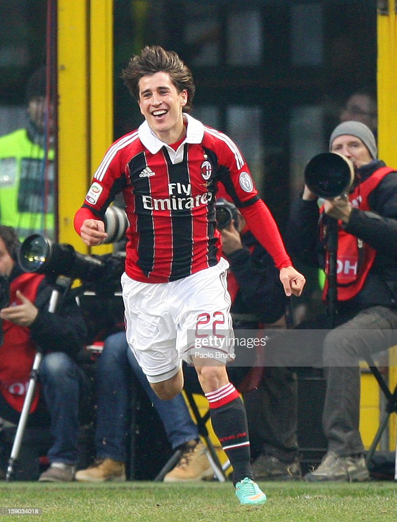 Krkic Bojan of AC Milan celebrates after scoring the opening goal during the Serie A match between AC Milan and AC Siena at San Siro Stadium on January 6, 2013 in Milan, Italy.