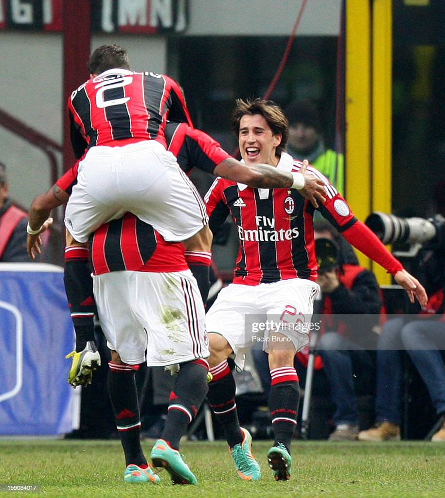 Krkic Bojan (R) with his teammates of AC Milan celebrates after scoring the opening goal during the Serie A match between AC Milan and AC Siena at San Siro Stadium on January 6, 2013 in Milan, Italy.