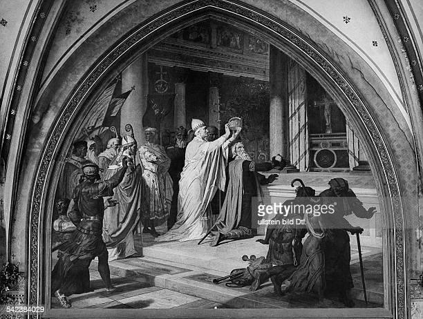 Krönung Karls d Grossen durch PapstLeo III in Rom Weihnachten 800Fresko aus dem Krönungssaal des AachenerRathauses