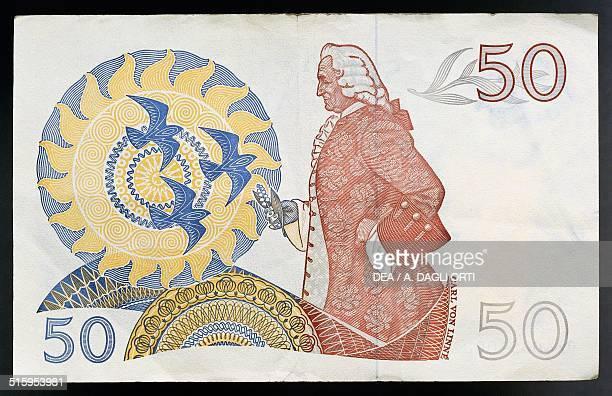 50 kronor banknote reverse Carl Linnaeus Sweden 20th century