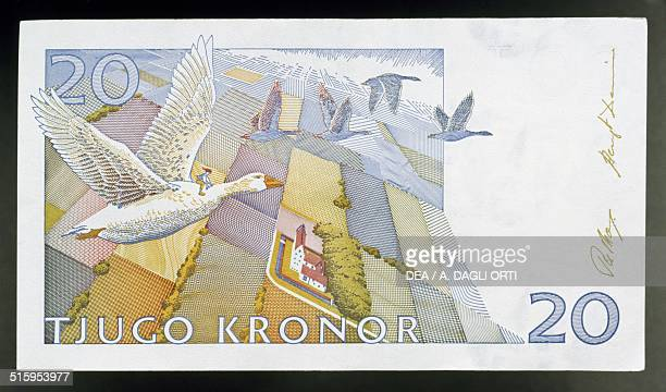 20 kronor banknote reverse wild geese flying Sweden 20th century