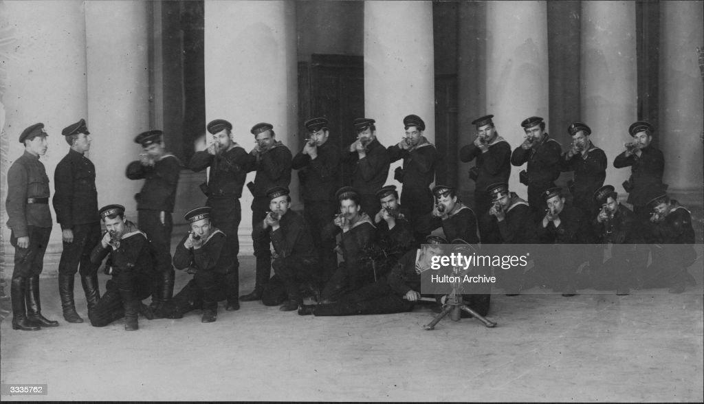 Kronstadt sailors guarding Tauride Palace at Petrograd (St Petersburg) under the command of Guards' Commissary Sailor Booyanov. Original Publication: Russian Album