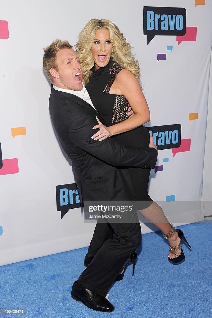 Kroy Biermann and Kim Zolciak attend the 2013 Bravo New York Upfront at Pillars 37 Studios on April 3 2013 in New York City