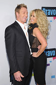Kroy Biermann and Kim Zolciak attend the 2013 Bravo New York Upfront at Pillars 37 Studios on April 3 2013 in New York City