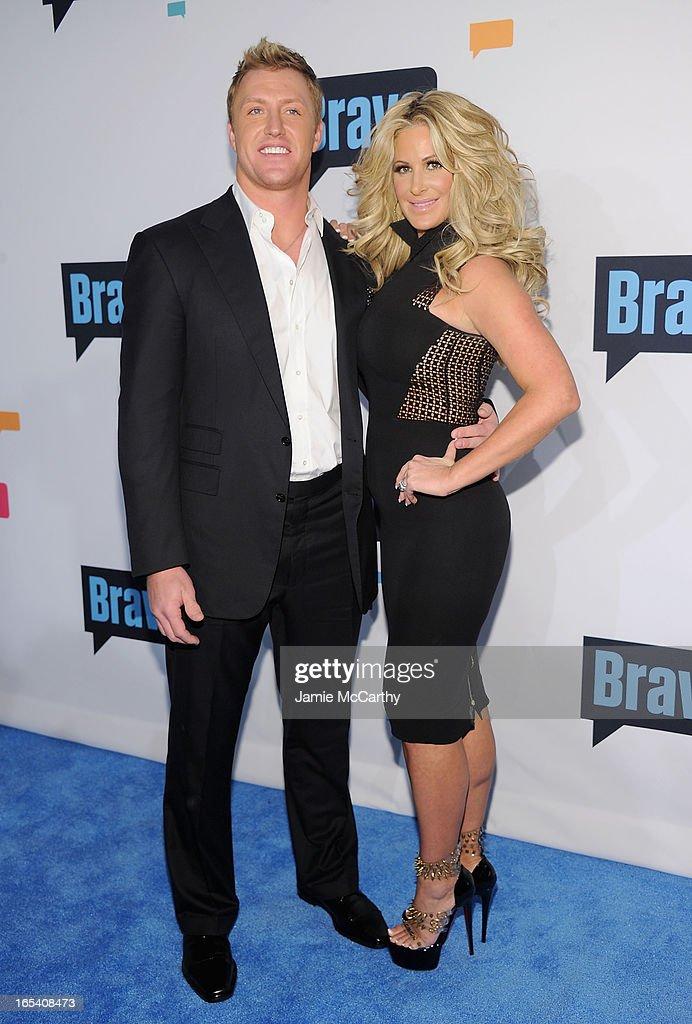Kroy Biermann and Kim Zolciak attend the 2013 Bravo New York Upfront at Pillars 37 Studios on April 3, 2013 in New York City.