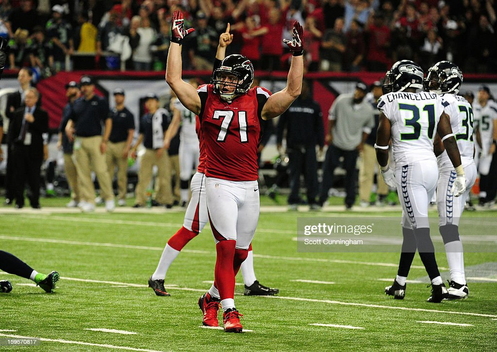 Kroy Biermann #71 of the Atlanta Falcons celebrates after the game winning field goal against the Seattle Seahawks during the NFC Divisional Playoff Game at the Georgia Dome on January 13, 2013 in Atlanta, Georgia