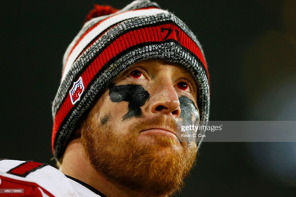 Kroy Biermann #71 of the Atlanta Falcons reacts to a Green Bay Packers touchdown at Lambeau Field on December 8, 2014 in Green Bay, Wisconsin.
