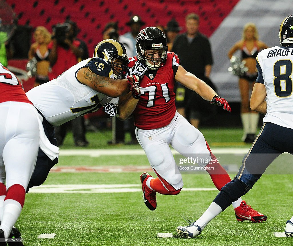 Kroy Biermann #71 of the Atlanta Falcons rushes the passer against the St. Louis Rams at the Georgia Dome on September 15, 2013 in Atlanta, Georgia.