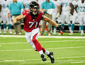 Kroy Biermann of the Atlanta Falcons watches the runner in the first quarter of a preseason game against the Miami Dolphins at the Georgia Dome on...