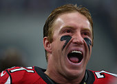 Kroy Biermann of the Atlanta Falcons yells before a game against the Dallas Cowboys at ATT Stadium on September 27 2015 in Arlington Texas