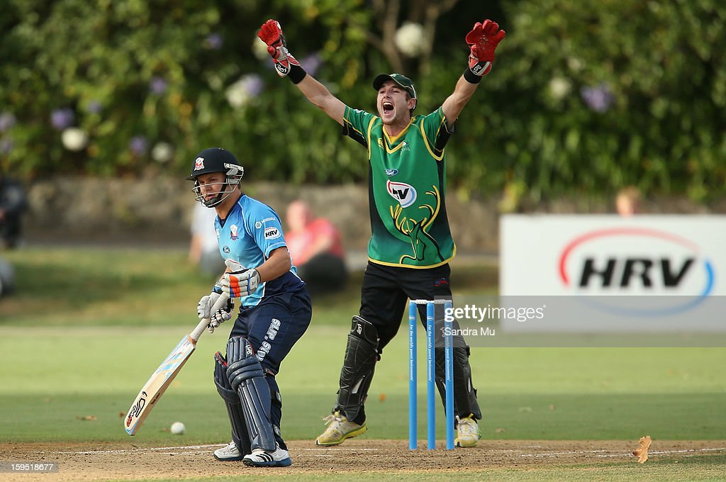 Kruger van Wyk of the Stags appeals the LBW for Craig Cachopa of the Aces during the HRV Cup Twenty20 match between the Auckland Aces and the Central Stags at Eden Park on January 15, 2013 in Auckland, New Zealand.