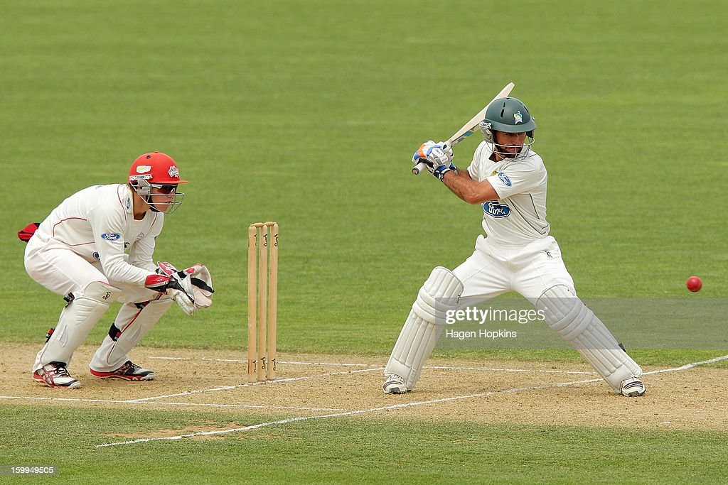 Kruger van Wyk of the Stags bats during the Plunket Shield match between the Central Stags and the Cantebury Wizards at McLean Park on January 24, 2013 in Napier, New Zealand.