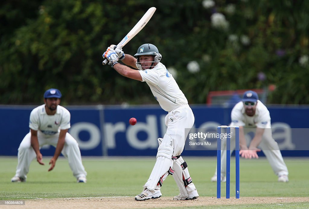 Kruger van Wyk of the Stags bats on day one of the Plunket Shield match between the Auckland Aces and the Central Stags January 30, 2013 in Auckland, New Zealand.