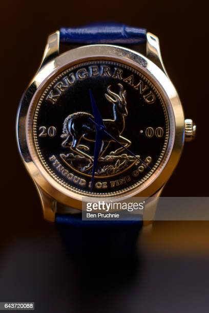 Krugerrand watch with the value of 3750 GDP is displayed at Sharps Pixley Bullion Brokers on December 15 2015 in London England The brand established...