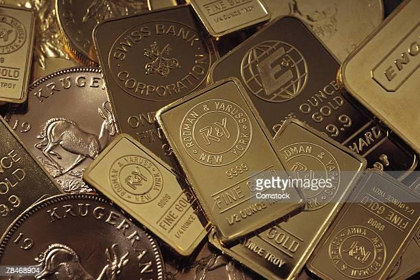 Krugerrands and gold bars