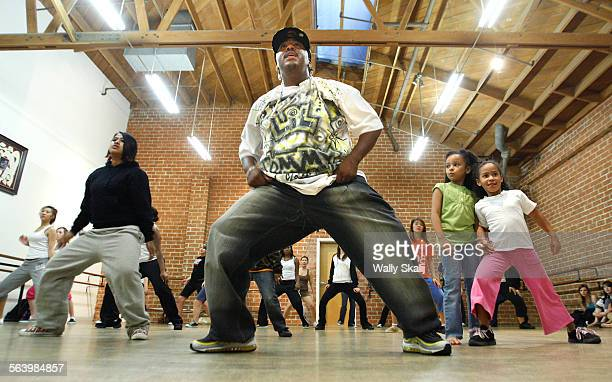Krumping instructor Lil Tommy leads a class at the Debbie Allen Dance School in Culver City