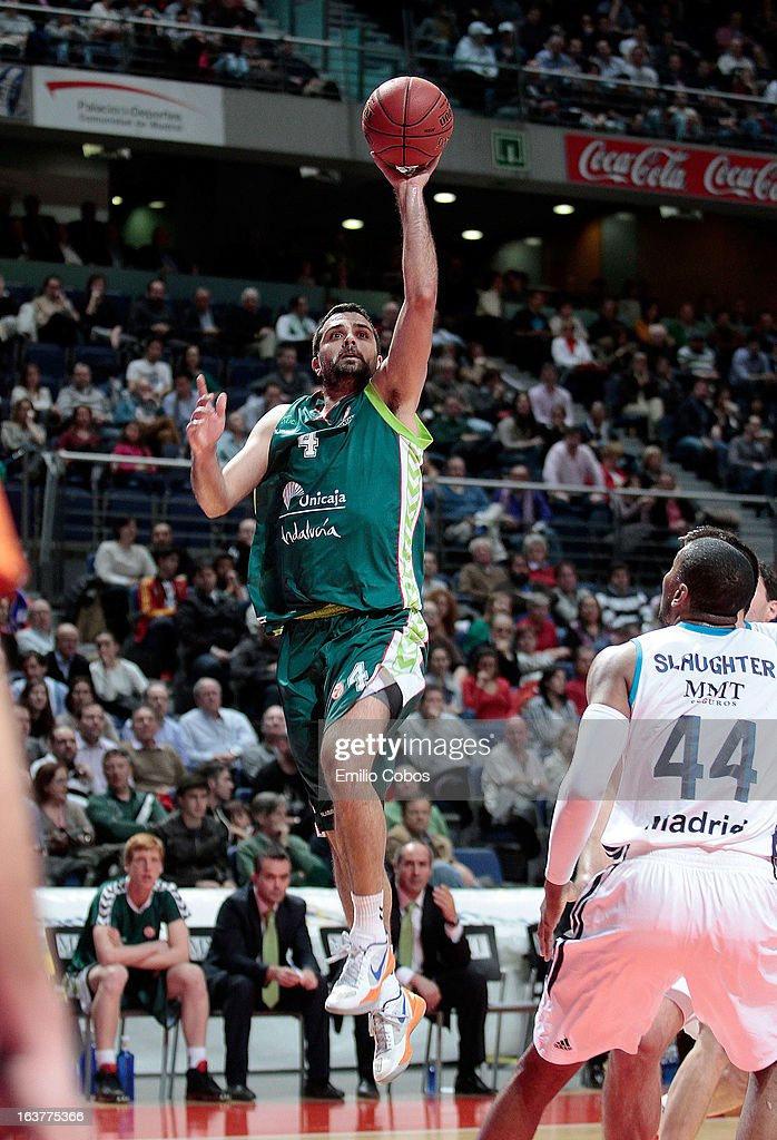 Krunoslav Simon, #4 of Unicaja Malaga in action during the 2012-2013 Turkish Airlines Euroleague Top 16 Date 11 between Real Madrid v Unicaja Malaga at Palacio Deportes Comunidad de Madrid on March 15, 2013 in Madrid, Spain.