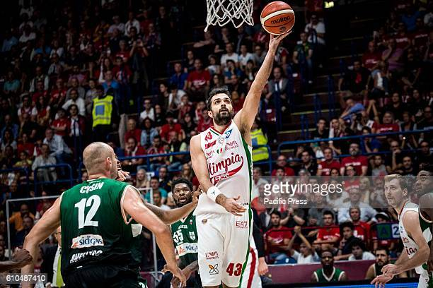 Krunoslav Simon shoots a layup during the final of Macron Supercoppa 2016 basketball match between Sidigas Avellino vs EA7 Emporio Armani Milano at...