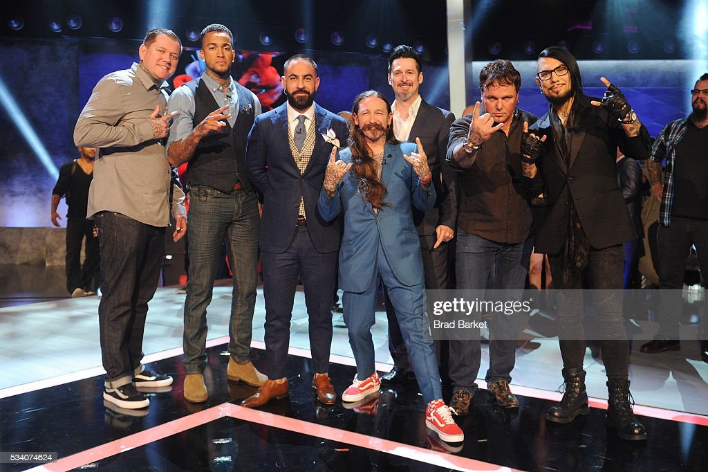 Kruseman, Anthony Michaels, Chris Nunez, Oliver Peck, Joey Hamilton, Steven Tefft, and <a gi-track='captionPersonalityLinkClicked' href=/galleries/search?phrase=Dave+Navarro&family=editorial&specificpeople=202159 ng-click='$event.stopPropagation()'>Dave Navarro</a> pose on stage after the 'Ink Master' season 7 LIVE finale on May 24, 2016 in New York City.
