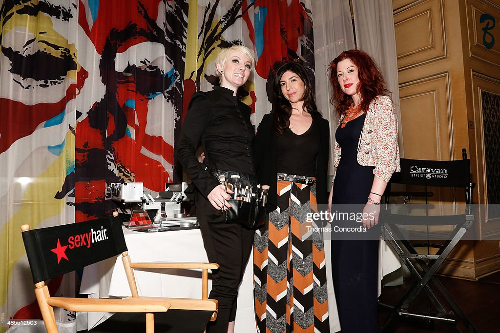 Kryolan Makeup Artist Kelly Hanna Thompson, Caravan Stylist Studio Owner Claudine De Sola and Caravan Stylist Studio Beauty Expert Valerie Star attend the Tribeca Press Day at the Carlton Hotel on April 18, 2014 in New York City.
