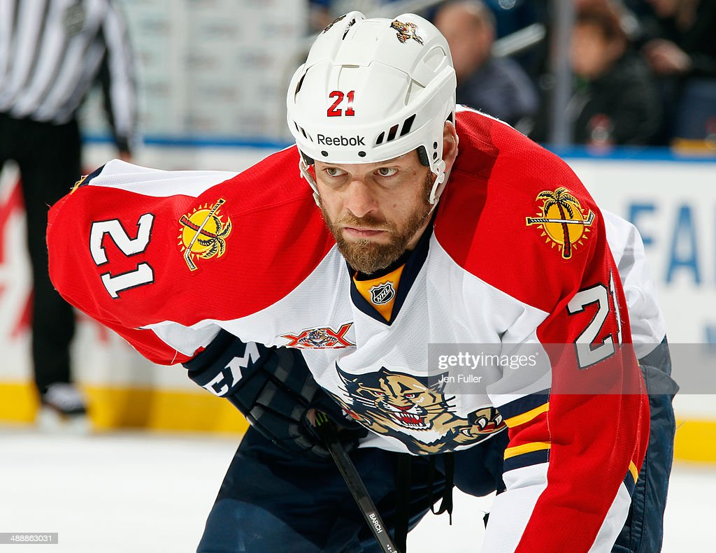 Krys Barch of the Florida Panthers prepares for a faceoff against the Buffalo Sabres at First Niagara Center on January 21 2014 in Buffalo New York