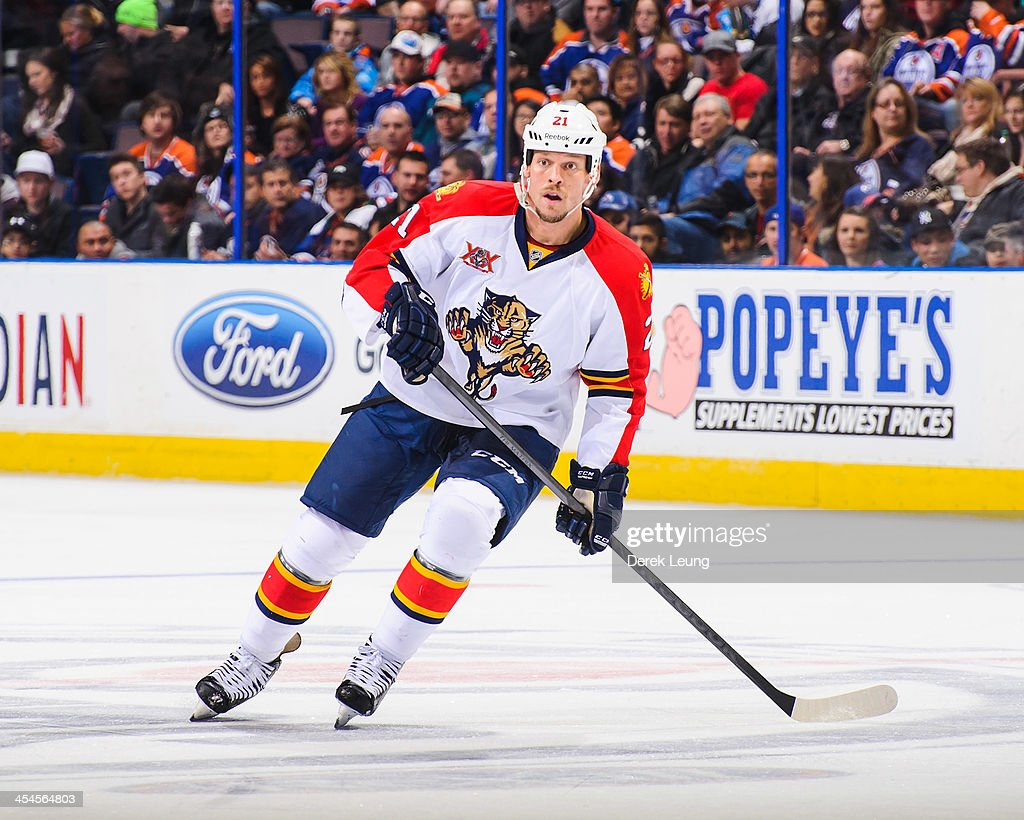 <a gi-track='captionPersonalityLinkClicked' href=/galleries/search?phrase=Krys+Barch&family=editorial&specificpeople=2538220 ng-click='$event.stopPropagation()'>Krys Barch</a> #21 of the Florida Panthers skates against the Edmonton Oilers during an NHL game at Rexall Place on November 21, 2013 in Edmonton, Alberta, Canada.