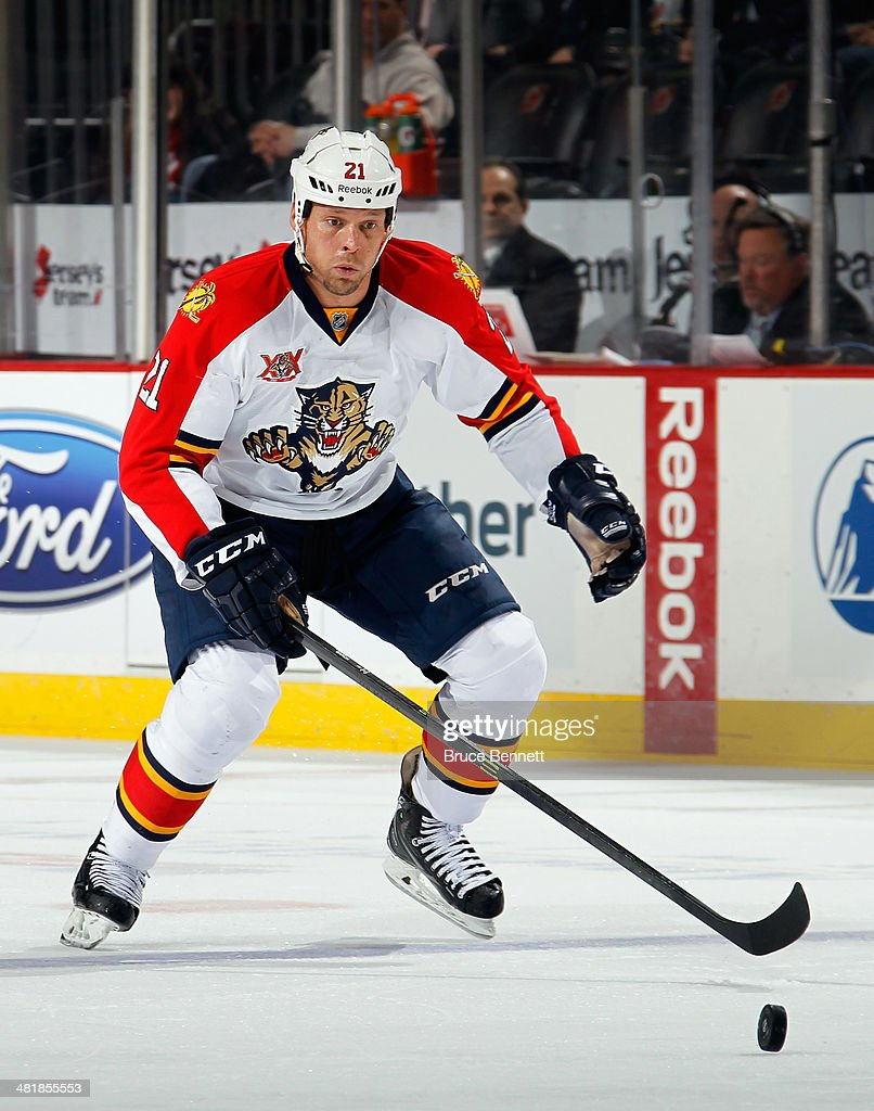 <a gi-track='captionPersonalityLinkClicked' href=/galleries/search?phrase=Krys+Barch&family=editorial&specificpeople=2538220 ng-click='$event.stopPropagation()'>Krys Barch</a> #21 of the Florida Panthers skates against the New Jersey Devils at the Prudential Center on March 31, 2014 in Newark, New Jersey. The Devils defeated the Panthers 6-3.