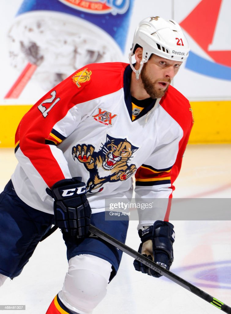 Krys Barch of the Florida Panthers skates during warmup during NHL game action against the Toronto Maple Leafs January 30 2014 at the Air Canada...
