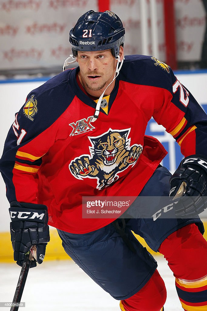 <a gi-track='captionPersonalityLinkClicked' href=/galleries/search?phrase=Krys+Barch&family=editorial&specificpeople=2538220 ng-click='$event.stopPropagation()'>Krys Barch</a> #21 of the Florida Panthers skates on the ice prior to the start of the game against the Anaheim Ducks at the BB&T Center on November 12, 2013 in Sunrise, Florida.